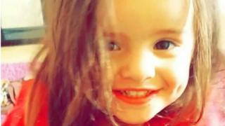 Two-year-old Trinity Coward was seriously injured in the Lakenham area of Norwich on Sunday.