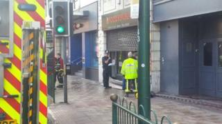 Eight fire engines were called to Food Republic in Broad Street at 06:15 BST on Tuesday