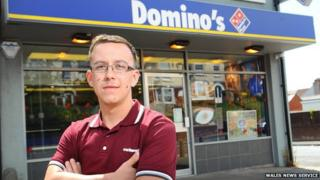 Nathaniel Bolwell outside Domino's