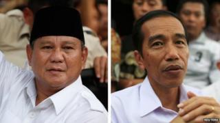"Combination image shows Indonesian presidential candidates Prabowo Subianto (L) and Joko ""Jokowi"" Widodo"