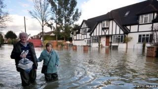 Flooded street in Berkshire