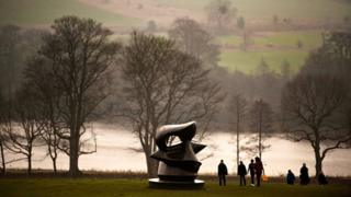 Henry Moore's perminent work, The Open Air Bronze collection, at Yorkshire Sculpture Park