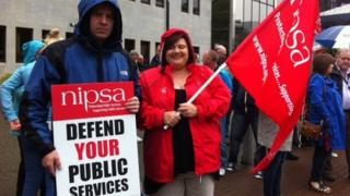Nipsa members demonstrated on the streets of Londonderry