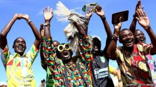 Ghanaian fans during Portugal match in Brasilia