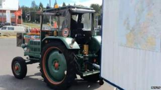 Old tractor with caravan