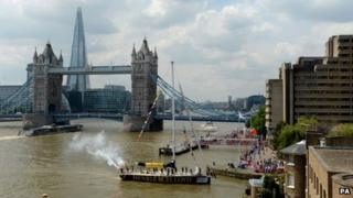 Boats at Tower Bridge in Round the World Race Finish