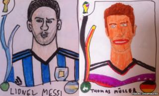Lionel Messi and Thomas Muller drawings