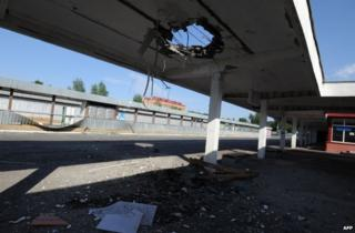 A damaged bus station in Luhansk, Ukraine, 12 July