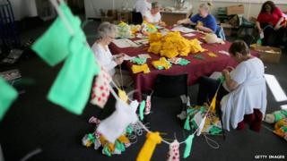 Bunting being knitted