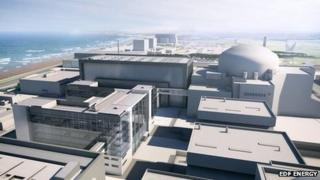 View of Hinkley Point C with Hinkley Point A and B in the background