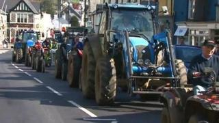 Convoy of tractors in Cowbridge