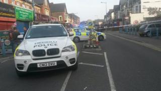 Police cordon in City Road, Cardiff