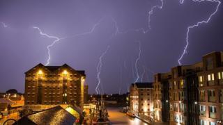 Lightning strikes buildings in Gloucester