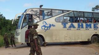 Damaged bus near Lamu