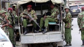 Kenya soldiers on patrol in the streets of the coastal city of Mombasa - 10 June 2014