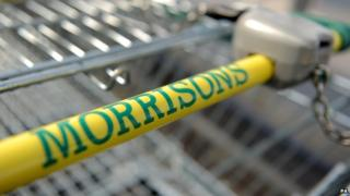 Handle of a Morrisons supermarket trolley