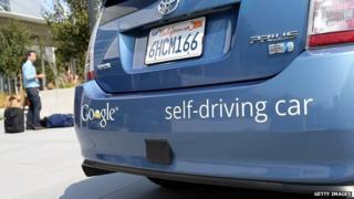 The rear bumper of a Google self-driving car.