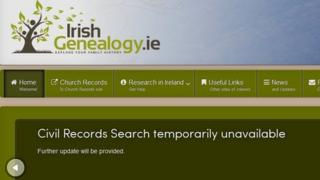 Screengrab of Irish Genealogy site