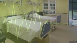 Beds and heart monitor graphic
