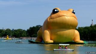 Giant inflatable toad in Beijing, China