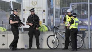 Armed police at Games venue