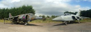 1976 Hawker Siddeley Harrier GR3 Jump Jet (left) and a 1988 Panavia Tornado F3