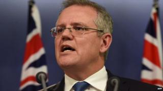 Australian Immigration Minister Scott Morrison at a press conference in Sydney on 25 July 2014
