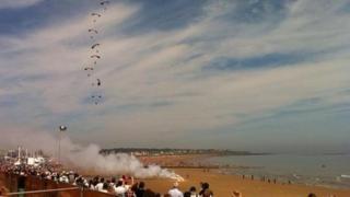 Parachute display at airshow