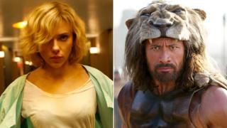 Scarlett Johansson in Lucy and Dwayne Johnson in Hercules