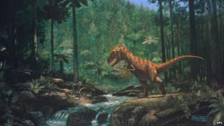 T Rex in a forest