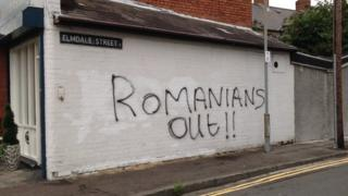 Racist graffiti appeared on gable walls in east Belfast on Monday night
