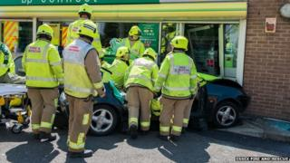 The crash at the BP garage in Kelvedon