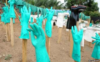 Gloves and boots used by medical staff treating people with Ebola in Guinea