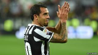 Carlos Tevez celebrates after Juventus beat Atalanta BC 1-0 - 5 May 2014