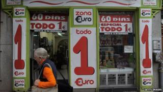 Woman outside a Spanish 1 Euro store