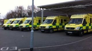 Ambulances queue