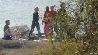 Emergency services at the Blue Lagoon lake near Bletchley