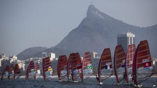 Test regatta for Rio Olympics in Guanabara Bay with the Christ the Redeemer statue in the background