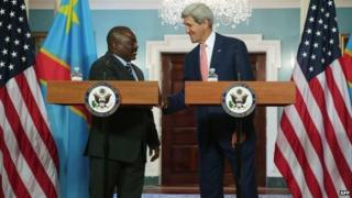 President of the Democratic Republic of Congo Joseph Kabila and US Secretary of State John Kerry