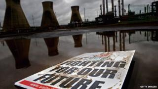 Union placard at Grangemouth plant