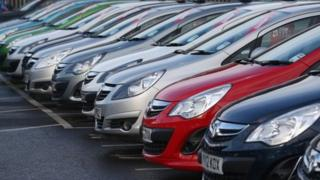 Cars displayed for sale in London