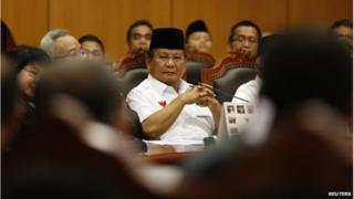 Indonesia's losing presidential candidate Prabowo Subianto sits inside the Constitutional Court in Jakarta 6 August 2014.