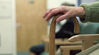 Elderly woman's hand on walking stick