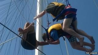 Aled and Richard Brown stuck in the rigging