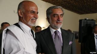 Presidential rivals Ashraf Ghani (left) and Abdullah Abdullah