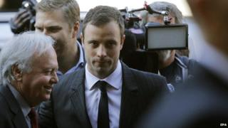 Oscar Pistorius arrives at his murder trial - 8 August 2014