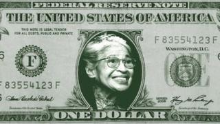 A $1 bill with Rosa Parks' face imposed on it