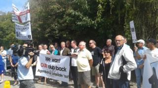 Protesting fans outside Edgar Street