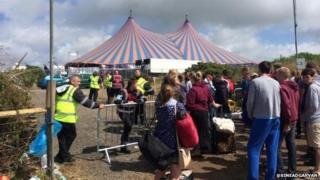 Music fans being turned away from the Boardmasters festival site at Watergate
