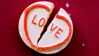 Broken love-heart sweet